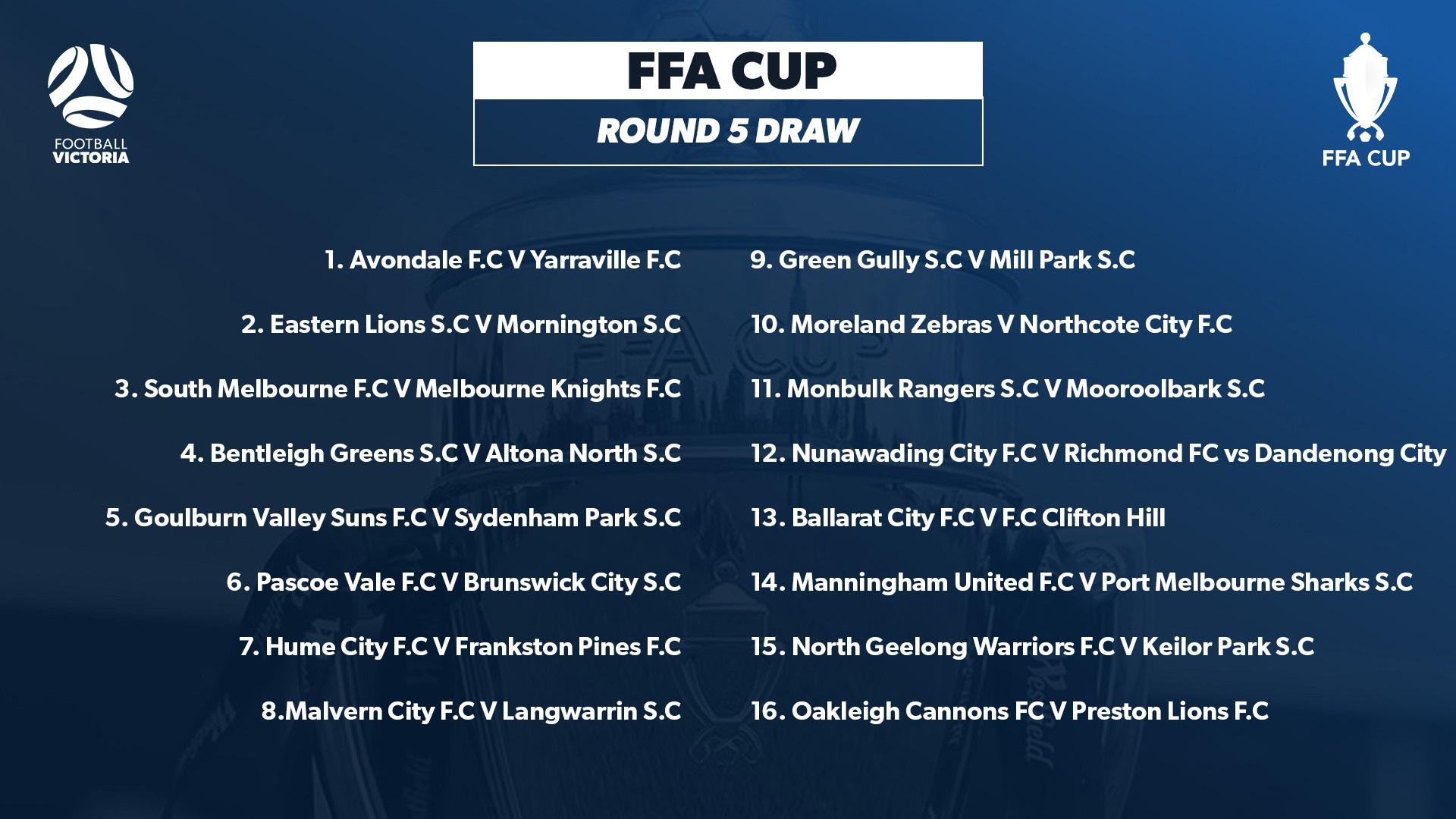 FFA CUP R 5 draw