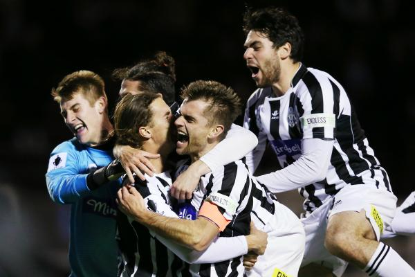 The joy of winning! Moreland Zebras players celebrate their penalty-shootout win